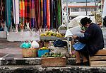 Street scene at the Plaza de Ponchos  Market, Otavalo, Ecuador.