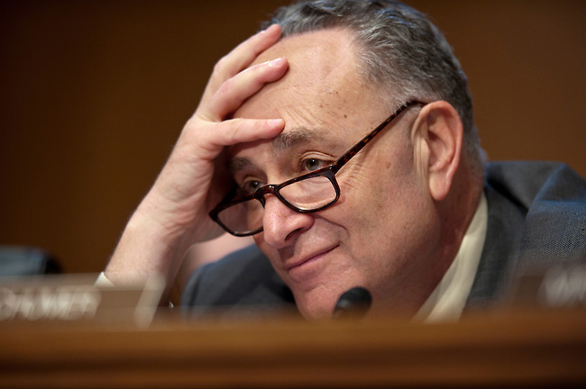 Senator CHUCK SHUMER (D-NY) listens to testimony during a Senate Banking, Housing and Urban Affairs committee hearing on &quot;The Administration's Report to Congress: Reforming America's Housing Finance Market.&quot;