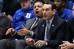 15 November 2014: Duke head coach Mike Krzyzewski (right) and assistant coach Jeff Capel (left) react to a call they disagree with. The Duke University Blue Devils hosted the Fairfield University Stags at Cameron Indoor Stadium in Durham, North Carolina in an NCAA Men's Basketball exhibition game. Duke won the game 109-59.