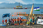 A small group of local environmental protesters were on hand for the arrival of the 400 foot tall Polar Pioneer, an oil platform brought in from Asia piggybacked on a large ship, on its way to Seattle and maybe Alaska.