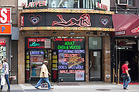 The Playpen, one of the few remaining adult entertainment establishments in the Times Square area of New York City.  The theater in which a much larger Playpen was previously located was demolished in 2007.