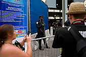 New  York, New York.September 10, 2011..Views of Ground Zero on the eve of the 10th anniversary of 9-11-2001. Heavily armed police at the entrance to the subway at West Broadway and Vesey Street.