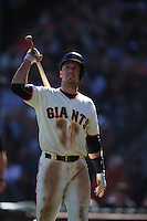 SAN FRANCISCO, CA - OCTOBER 2:  Buster Posey #28 of the San Francisco Giants walks off the field after an at bat during the game against the Los Angeles Dodgers at AT&T Park on Sunday, October 2, 2016 in San Francisco, California. Photo by Brad Mangin