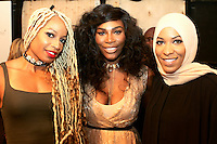 NEW YORK, NY - SEPTEMBER 12: Serena Williams and Ibtihaj Muhammad backstage at the Serena Williams Signature Collection for HSN Spring 2017 Runway Show at KIA Style 360 in New York City on September 12, 2016. Credit: Walik Goshorn/MediaPunch