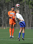 Florida's Ameera Abdullah (77) and Duke's Elisabeth Redmond challenge for a header on Saturday, March 3rd, 2007 on Field 1 at SAS Soccer Park in Cary, North Carolina. The University of Florida Gators played the Duke University Blue Devils in an NCAA Division I Women's Soccer spring game.