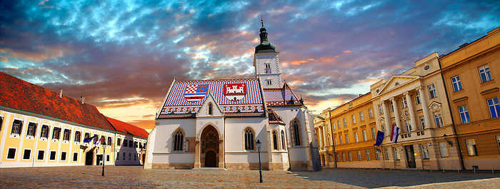 Late Gothic church of St. Mark's Church (Crkva sv. Marka) , with Croatian Parliamnet [ right ]Zagreb, Croatia