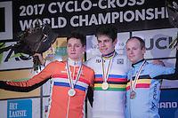 Men's Race Podium:<br /> 1/ Wout Van Aert (BEL/Crelan-Willems)<br /> 2/ Mathieu Van der Poel (NED/Beobank-Corendon)<br /> 3/ Kevin Pauwels (BEL/Marlux - Napoleon Games)<br /> <br /> UCI 2017 Cyclocross World Championships<br /> <br /> january 2017, Bieles/Luxemburg