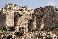 Temple of the Columns at the Mayan ruins of Tulum on the Riviera Maya, Quintana Roo, Mexico.