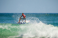 Burleigh Heads, Queensland,Australia: Sunday February 10 2013: Owen Wright (AUS) put on a masterly display of back-hand surfing to defeat fellow Australian Adam Melling (AUS) in the final of the 4-star Breaka Burleigh Pro today on the Gold Coast..Midway through the final, Wright, who finished 11th on the World Championship Tour (WCT) in 2012, locked in an excellent 9.17 (out of a possible 10), he then backed it up with a 6.10 to secure the win. The final score-line saw Wright on 15.27 to Melling's 13.97..The win is timely for  Wright who will be competing in the ASP World Championship Tour first event, The Quiksilver Pro at Snapper Rocks in less than three weeks time..Wright's win also completed a unique double for South Coast NSW surfers following Sally Fitzgibbons  (AUS) victory yesterday in the Breaka Burleigh Women's division..Finishing the event in equal third place were New Zealand's Ricardo Christie (NZL) and Brazil's Alejo Muniz (BRA). Despite his blistering form throughout the early rounds of the event, Christie was unable to replicate the same high scores he'd found earlier in the event, while surfing against Adam Melling in the first Semifinal..Photo: joliphotos.com