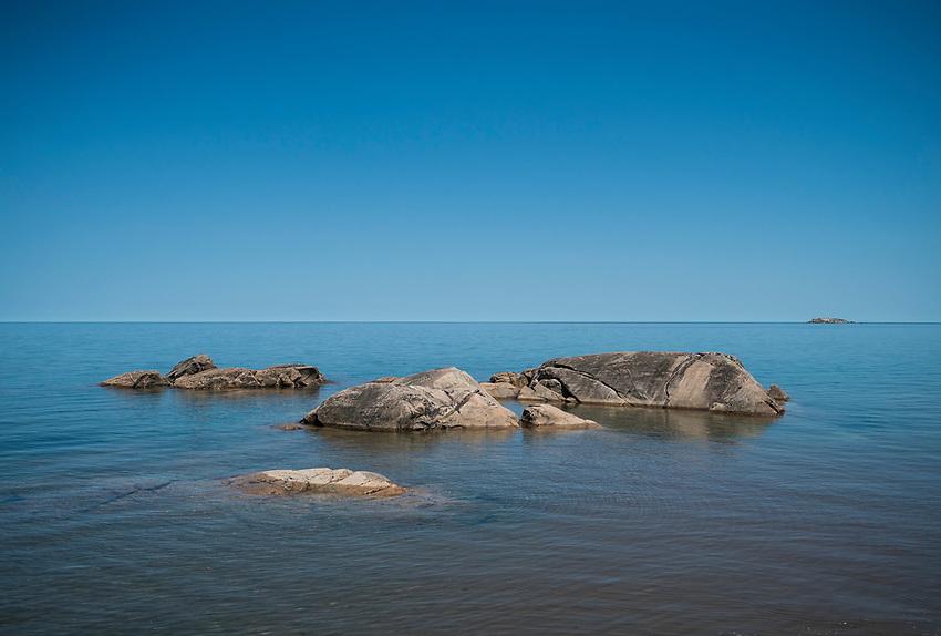 Wetmore Landing beach area on Lake Superior near Marquette, Michigan.