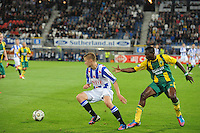 VOETBAL: HEERENVEEN: Abe Lenstra Stadion, 15-09-2012, SC Heerenveen - ADO Den Haag, Eindstand 1-3, Alfreð Finnbogason (#11 | SCH), Kenneth Omeruo (#4 | ADO), ©foto Martin de Jong