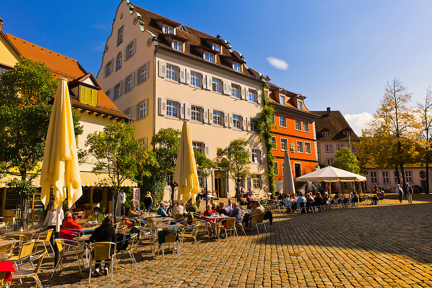 Schlossplatz, the medieval city of Meersburg on Lake Constance (Bodensee), Baden-Württemberg, Germany
