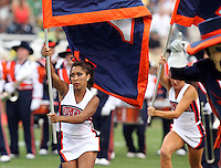 Sept. 3, 2011 - Charlottesville, Virginia - USA; Virginia Cavaliers Cheerleaders run with the flag during an NCAA football game against William & Mary at Scott Stadium. Virginia won 40-3. (Credit Image: © Andrew Shurtleff