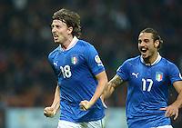 Fussball International  WM Qualifikation 2014   Italien - Daenemark                16.10.2012 Jubel Riccardo Montolivo und Pablo Osvaldo (v. li., Italien)