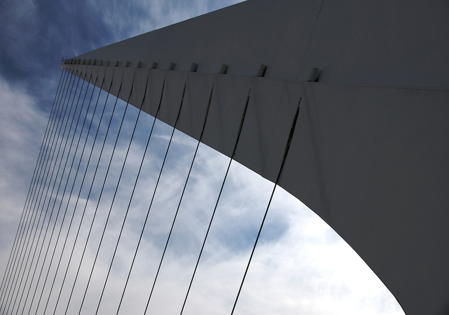 "View of tensors on Bridge ""La Mujer"" in Puerto Madero, Buenos Aires. The Bridge was designed by Santiago Calatrava and its a Landmark on this tourist destination in Buenos Aires."