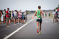 Linsey Corbin at mile 12 on the run at the 2013 Ironman World Championship in Kailua-Kona, Hawaii on October 12, 2013.