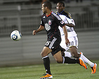 Ethan White(15) of D.C. United races for the ball with Danny Mwanga(10) of the Philadelphia Union during a play-in game for the US Open Cup tournament at Maryland Sportsplex, in Boyds, Maryland on April 6 2011. D.C. United won 3-2 after overtime penalty kicks