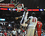 "Ole Miss' Murphy Holloway (31) dunks vs. Rutgers at the C.M. ""Tad"" Smith Coliseum in Oxford, Miss. on Saturday, December 1, 2012. Mississippi won 80-67. (AP Photo/Oxford Eagle, Bruce Newman).."