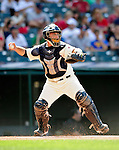 5 September 2009: Cleveland Indians' catcher Wyatt Toregas in action against the Minnesota Twins at Progressive Field in Cleveland, Ohio. The Indians fell to the Twins 4-1 in the second game of their three-game weekend series. Mandatory Credit: Ed Wolfstein Photo