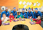St Johnstone players took some festive cheer to Fairview School in Perth gving out selection boxes and gifts to the pupils&hellip;Pictured from left, Alan Mannus, Keith Watson, Joe Shaughnessy, Zander Clark and Paul Paton with primary pupils, Ethan, Daniel, Iona and Cameron-Marie <br />Picture by Graeme Hart.<br />Copyright Perthshire Picture Agency<br />Tel: 01738 623350  Mobile: 07990 594431