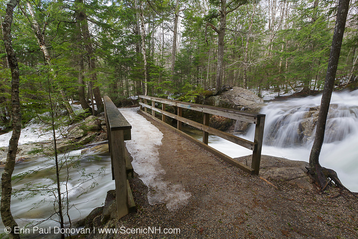 """The Pemigewasset River, just above the """"The Basin"""" viewing area, in Franconia Notch State Park of Lincoln, New Hampshire USA during the spring months."""