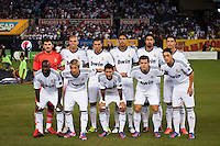 Real Madrid starting eleven. Real Madrid defeated A. C. Milan 5-1 during a 2012 Herbalife World Football Challenge match at Yankee Stadium in New York, NY, on August 8, 2012.