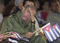 Cuban President Fidel Castro attends a political act in the fifth anniversary of Cuban boy Elian Gonzalez' return to Cuba, Havana, Cuba, April 22, 2005. Elian was the axis of a legal battle for its custody among its Father Juan Miguel and relatives in the South of The Florida.  Credit: Jorge Rey/MediaPunch