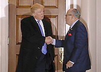 Former New York City Mayor Rudy Giuliani (R) shakes hands with United States President-elect Donald Trump at the clubhouse of Trump International Golf Club, in Bedminster Township, New Jersey, USA, 20 November 2016.<br /> Credit: Peter Foley / Pool via CNP /MediaPunch