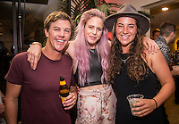 Turtle Bay Resort, North Shore, Oahu, Hawaii. (Tuesday December 6, 2016): Glen Hall (AUS), Laura Enever (AUS) and the new World Champion Tyler Wright (AUS). The annual Surfer Poll Awards were held tonight at the Turtle Bay Resort with the new world champion John John Florence (HAW) taking out the #1 spot on the Men's Reader Poll and Carissa Moore (HAW) #1 on the women's poll. Photo: joliphotos