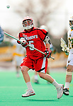19 March 2011: St. John's University Red Storm LSM Dillon Ayers, a Sophomore from Lynbrook, NY, in action against the University of Vermont Catamounts at Moulton Winder Field in Burlington, Vermont. The Catamounts defeated the visiting Red Storm 14-9. Mandatory Credit: Ed Wolfstein Photo