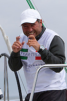 Paolo Cian playing up for the camera on day 2 of Match Race Germany. World Match Racing Tour. Langenargen, Germany. 21 May 2010.