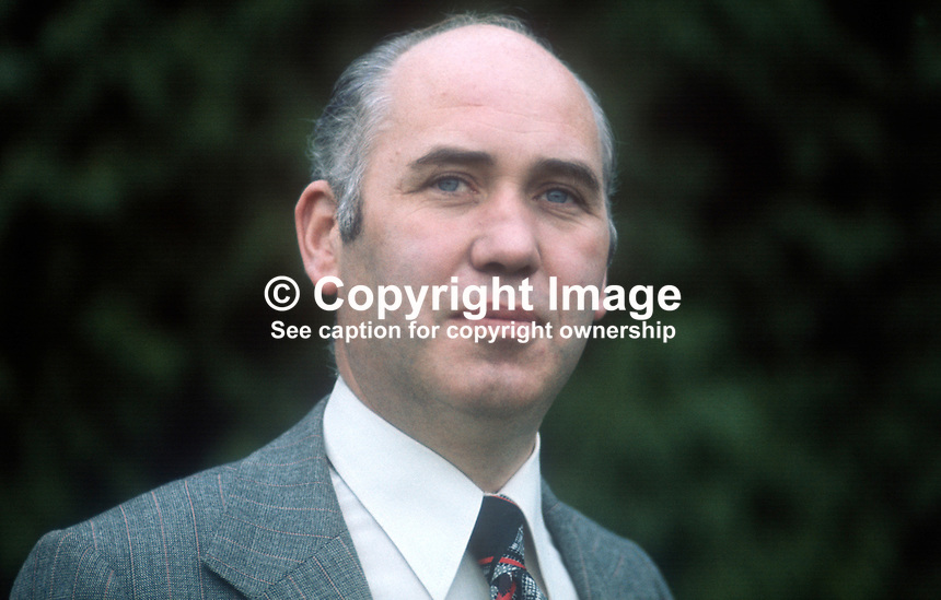 Inspector Don Milligan, RUC, Royal Ulster Constabulary, N Ireland, UK, chairman, Police Federation which represents officers up to chief inspector level. 197509190649DM1<br />