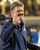 Pitt head coach Dave Wannstedt. The West Virginia Mountaineers defeated the Pittsburgh  Panthers 19-16 on November27, 2009 at Mountaineer Field at Milan Puskar Stadium, Morgantown, West Virginia.
