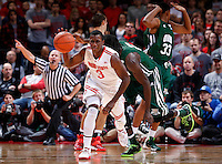 Ohio State Buckeyes guard Shannon Scott (3) grabs a turnover as an official calls a foul on Ohio Bobcats forward Antonio Campbell (33) in the second half of the college basketball game between the Ohio State Buckeyes and the Ohio Bobcats at Value City Arena in Columbus, Tuesday evening, November 12, 2013. The Ohio State Buckeyes defeated the Ohio Bobcats 79 - 69. This was the first meeting of the teams in 19 years and the first ever game between them at Value City Arena. (The Columbus Dispatch / Eamon Queeney)