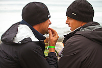 """JEFFREYS BAY, South Africa (Saturday, July 23, 2011) - Andy King (AUS)  coaches Mick Fanning (AUS) before  a heat. The Billabong Pro Jeffreys Bay, Event No. 4 of 11 on the 2011 ASP World Title season recommenced this morning with Round 3 at 7:15am in consistent four-to-six foot (1.5 metre) surf.. .After navigating a period of tricky swell, event organizers had been greeted with excellent conditions this morning, opening with Round 3 of competition and following with Rounds 4 and 5.. .""""It's been a lengthy wait but we're excited to have such good surf on offer today and will be making the most of it,"""" Rich Porta, ASP International Head Judge, said. .Surfline, official forecasters for the Billabong Pro Jeffreys Bay, are calling for a solid SSW push through the day.. .  Photo: joliphotos.com"""