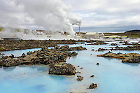 Cooling Pools at the Blue Lagoon Geothermal Power Plant, Iceland