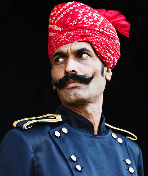 Portrait of Man in Turban, Ananda in the Himalayas, The Palace Estate, Narendra Nagar, Tehri Garhwal, Uttarakhand, India. An Indian darban in traditional ... - asp-wakem-05524