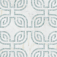Heathrow Grande, a hand-cut and waterjet mosaic, shown in honed Cloud Nine and tumbled Ming Green, is part of the Miraflores Collection by Paul Schatz for New Ravenna.