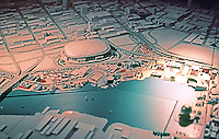 Vancouver: EXPO '86--Model of EXPO Grounds, eastern par. Cambie St. Bridge )left) to Quebec St. Entrance.