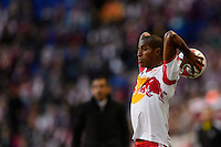 Roy Miller (7) of the New York Red Bulls on a throw in. The New York Red Bulls and the Colorado Rapids played to a 1-1 tie during a Major League Soccer (MLS) match at Red Bull Arena in Harrison, NJ, on March 15, 2014.