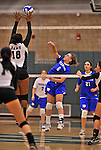 28 October 2012: Yeshiva University Maccabee Makena Owens, a Freshman from Sammamish, WA, in action against the Farmingdale State College Rams at SUNY Old Westbury in Old Westbury, NY. The Rams defeated the Maccabees 3-0 in NCAA women's volleyball play. Mandatory Credit: Ed Wolfstein Photo