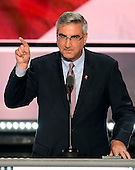 Lt. Governor Eric Holcomb (Republican of Indiana) places the name of Governor Mike Pence (Republican of Indiana) into nomination as the party's nominee as Vice President of the United States  at the 2016 Republican National Convention held at the Quicken Loans Arena in Cleveland, Ohio on Tuesday, July 19, 2016.<br /> Credit: Ron Sachs / CNP<br /> (RESTRICTION: NO New York or New Jersey Newspapers or newspapers within a 75 mile radius of New York City)