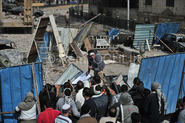 Remi OCHLIK/IP3 -  February 3 2011 Cairo square chaos intensifies, violence spreads - CAIRO - Protesters and regime supporters fought in a second day of rock-throwing battles at a central Cairo square while new lawlessness spread around the city. New looting and arson erupted, and gangs of thugs supporting President Hosni Mubarak attacked reporters, foreigners and rights workers while the army rounded up foreign journalists. As bruised and bandaged protesters danced in victory after forcing back Mubarak loyalists attacking Tahrir Square, the government increasingly spread an image that foreigners were fueling the turmoil and supporting the unprecedented wave of demonstrations demanding the ouster of Mubarak, this country's unquestioned ruler for nearly three decades.
