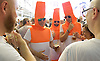 The Great British Beer Festival <br /> at Olympia, London, Great Britain <br /> 12th August 2016 <br /> <br /> <br /> Atmosphere pictures from the beer festival <br /> Men dressed as cones <br /> <br /> Photograph by Elliott Franks <br /> Image licensed to Elliott Franks Photography Services