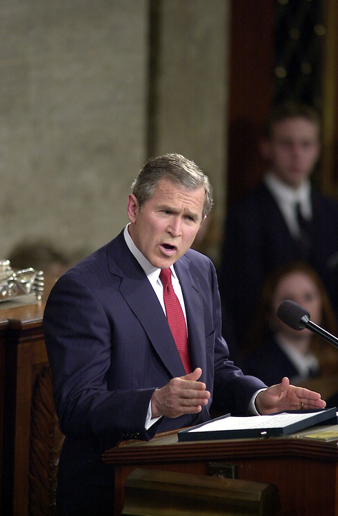 7joint022701 -- President George W. Bush makes his address to the Joint Session of Congress.