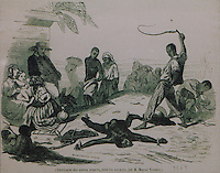 Punishment of slaves by whipping when staked out on the ground, by Eugene Ferdinand Buttura, 1812-52, and Moynet, facsimile of an original in the Musee du Quai Branly, in the Musee d'Aquitaine, Cours Pasteur, Bordeaux, Aquitaine, France. Picture by Manuel Cohen