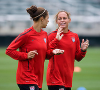Carli Lloyd, Christie Rampone. The USWNT practice at WakeMed Soccer Park in preparation for their game with Japan.
