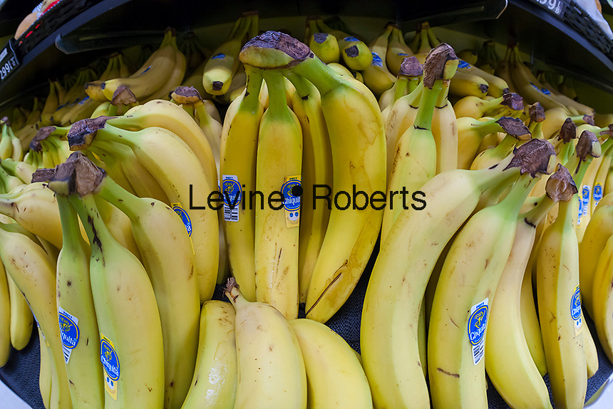 Chiquita brand bananas imported from Guatamala are seen in a supermarket in New York on Thursday, June 30, 2016. (© Richard B. Levine)