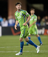 Brad Evans of Sounders in action during the game against the Earthquakes at Buck Shaw Stadium in Santa Clara, California on April 2nd, 2011.   San Jose Earthquakes and Seattle Sounders are tied 2-2.