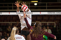 STANFORD, CA - October 15, 2016: Inky Ajanaku at Maples Pavilion. The Cardinal defeated the Arizona State Sun Devils 3-1.
